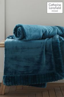 Catherine Lansfield Teal Velvet and Faux Fur Throw