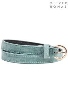 Oliver Bonas Green Green & Gold Skinny Velvet Belt