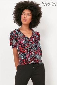 M&Co Floral Shirred Hem Top