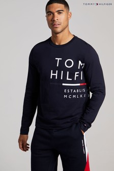Tommy Hilfiger Blue Wrap Around Long Sleeve Tee