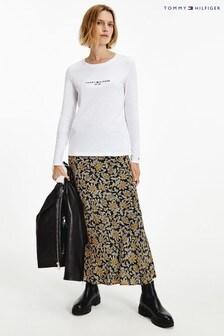 Tommy Hilfiger Womens White Regular Hilfiger T-Shirt