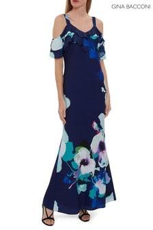 Gina Bacconi Gailyn Floral Crepe Maxi Dress