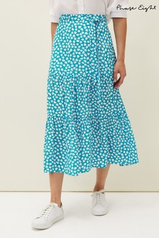 Phase Eight Blue Tana Leaf Print Skirt