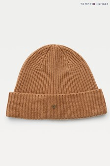 Tommy Hilfiger Brown Camel Th Lux Cashmere Beanie