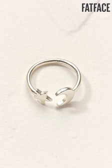 FatFace Silver Tone Moon And Star Ring