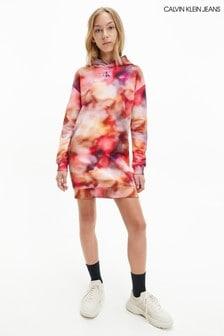 Calvin Klein Older Girls Pink Distorted Hoodie Dress