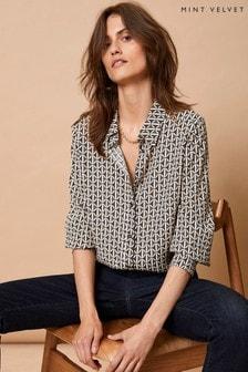 Mint Velvet Grey Georgia Long Sleeve Shirt