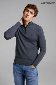 Calvin Klein Grey Wool Quarter Zip Jumper
