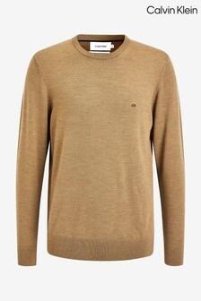 Calvin Klein Tan Wool Crew Neck Sweater