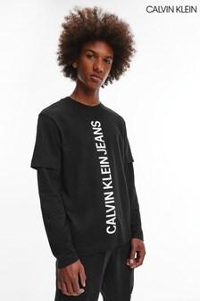Calvin Klein Black Double Layer Long Sleeve T-Shirt