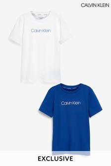 Calvin Klein Older Boys Blue Exclusive Modern Cotton T-Shirts 2 Pack