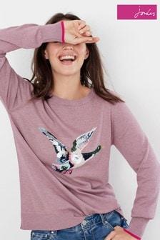Joules Miranda Luxe Embellished Intarsia Crew Neck Jumper