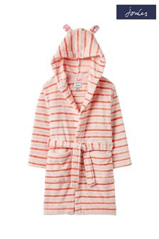 Joules Pink Constell Teddy Dressing Gown Robe