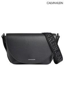 Calvin Klein Black Trapezoid Shadow Saddle Bag