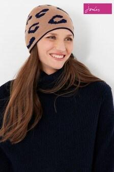 Joules Brown Spotwell Hat Leopard Beanie