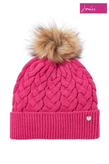 Joules Pink Elena Cable Hat