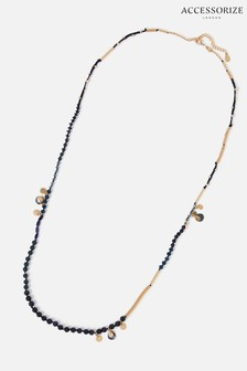 Accessorize Navy Country Retreat Long Beaded Necklace