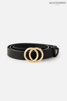 Accessorize Black Double Hoop Skinny Belt