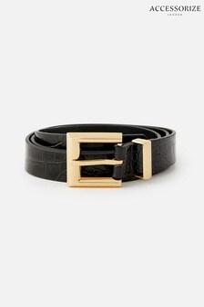 Accessorize Black Croc Print Belt