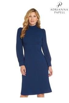 Adrianna Papell Blue Divine Crepe High Neck Dress