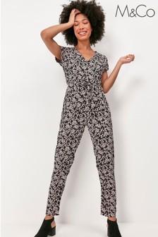 M&Co Black Disty Floral Jumpsuit