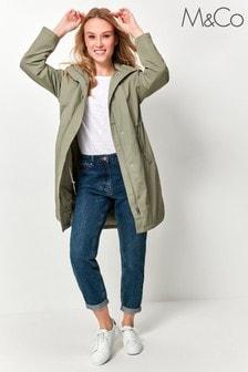 M&Co Green Hooded Long Rain Jacket