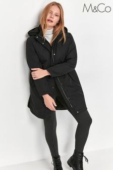 M&Co Black Hooded Long Rain Jacket