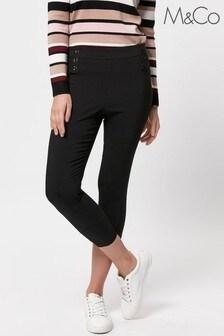 M&Co Petite Black Petite Stretch Cropped Trousers