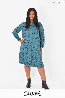 LIVE Curve Blue Sustainable Viscose Spot Shirt Dress