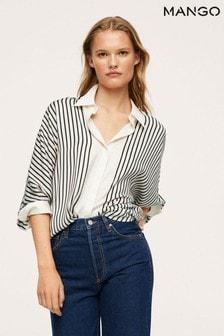 Mango White Oversize Striped Shirt