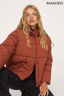 Mango Red Side Zip Quilted Coat