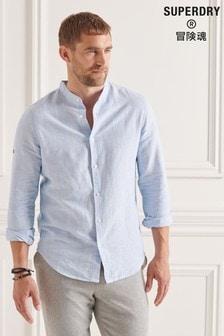Superdry Organic Cotton Linen Long Sleeved Grandad Shirt
