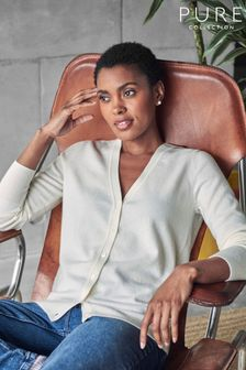 Pure Collection White Cashmere V-Neck Cardigan
