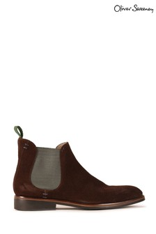 Oliver Sweeney Brown Burrows Waxed Suede Boots