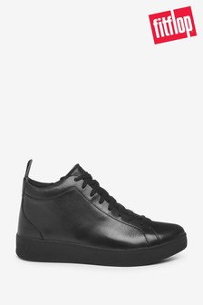 FitFlop Black Rally Leather High-Top Trainers