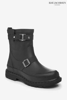 Ilse Jacobsen Black Rubber Ankle Boots