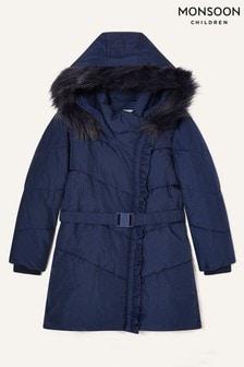 Monsoon Blue Ruffle Padded And Hooded Coat