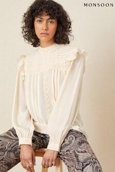Monsoon Cream Victoriana Long Sleeve Blouse