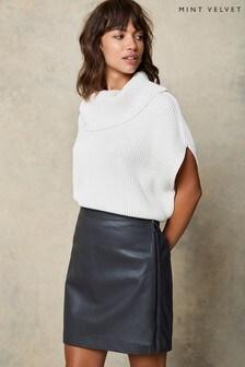 Mint Velvet Natural Leather Mini Skirt