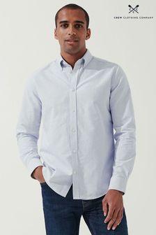 Crew Clothing Company Mens Blue Long Sleeve Slim Oxford Stripe Shirt