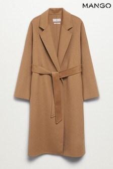 Mango Brown Woollen Coat With Belt