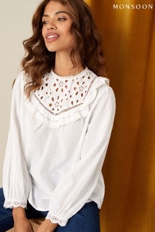 Monsoon Natural Frill Bib In Pure Cotton Blouse