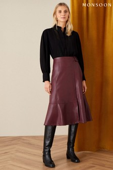 Monsoon Purple Belted Leather-Look Skirt