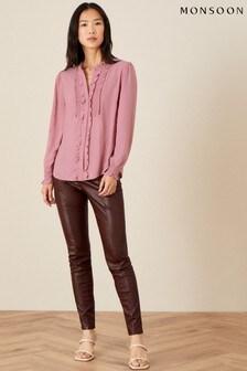 Monsoon Pink Liliana Frill Long Sleeve Blouse
