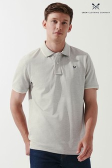 Crew Clothing Company Grey Oxford Tipped Polo Shirt