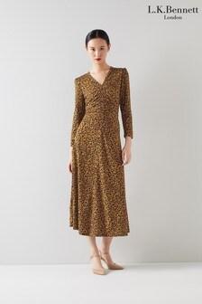L.K.Bennett Brown Lottie Fit And Flare V-Neck Jersey Dress