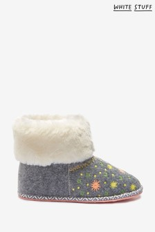 White Stuff Natural Star Embroidered Booties