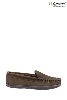 Cotswold Mens Brown Sodbury Slip On Moccasin Slippers