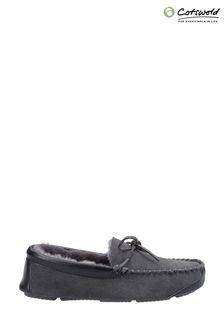 Cotswold Mens Grey Northwood Sheepskin Moccasin Slippers