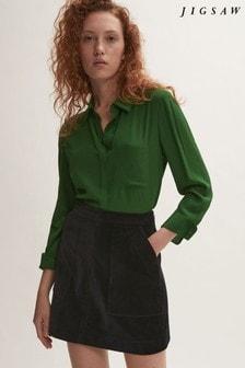 Jigsaw Black Velvet A-Line Mini Skirt